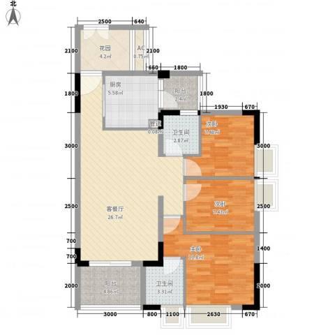 三正卧龙山3室1厅2卫1厨79.00㎡户型图