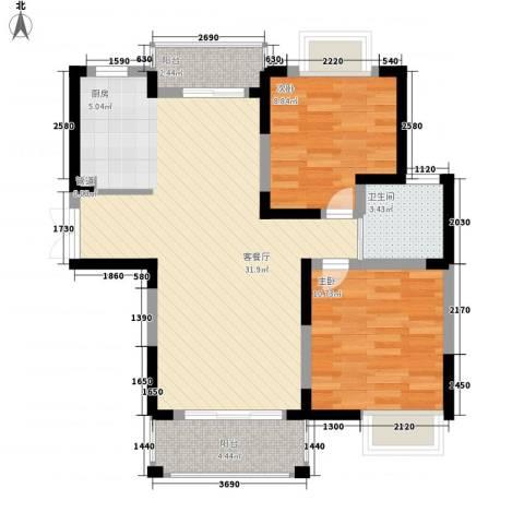 奥克斯博客城2室1厅1卫0厨89.00㎡户型图