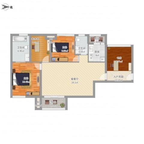 时光俊园2室1厅2卫1厨129.00㎡户型图