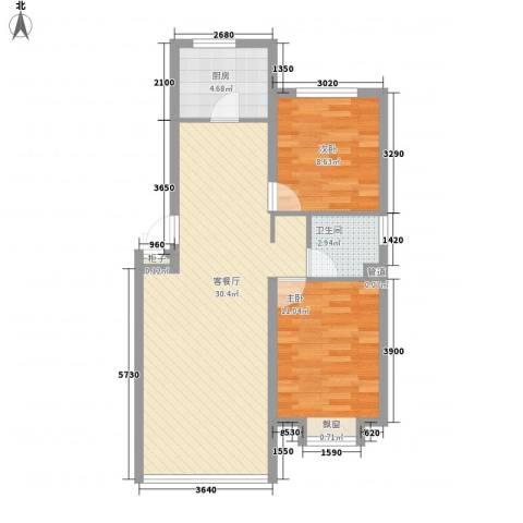 明天小镇2室1厅1卫1厨82.00㎡户型图