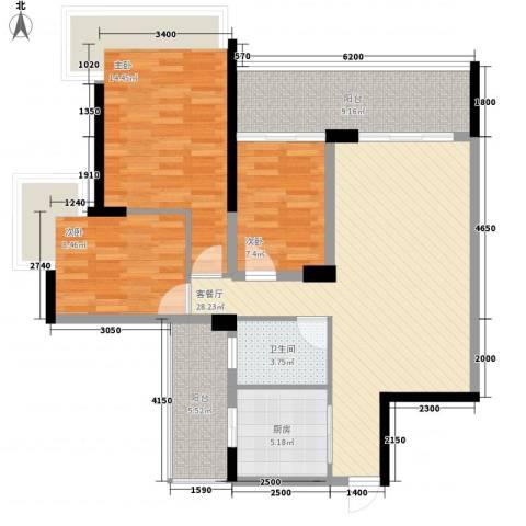 金联大楼3室1厅1卫1厨118.00㎡户型图