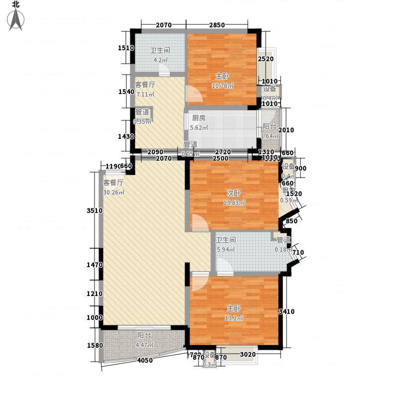富景海派公馆135.70㎡二期海派擎城C型户型3室2厅2卫1厨