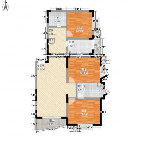 富景海派公馆3室2厅2卫1厨136.00㎡户型图