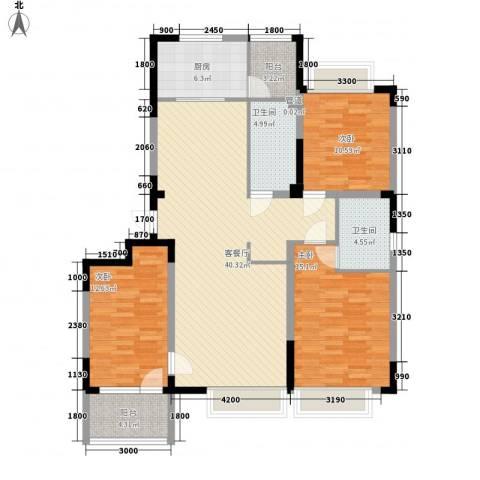 凯撒花园3室1厅2卫1厨144.00㎡户型图
