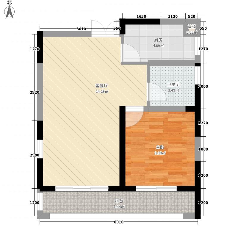 滨湖假日67.68㎡滨湖假日户型图D31室2厅1卫1厨户型1室2厅1卫1厨