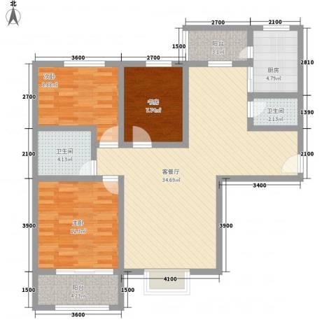 和发紫薇园3室1厅2卫1厨113.00㎡户型图