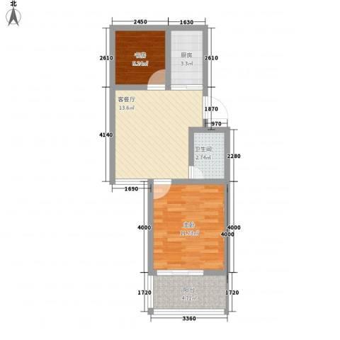 永福苑2室1厅1卫1厨61.00㎡户型图