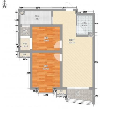 九派香邻2室1厅1卫1厨81.00㎡户型图