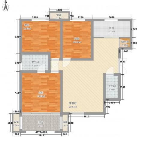 伟邦新西城3室1厅2卫1厨119.00㎡户型图