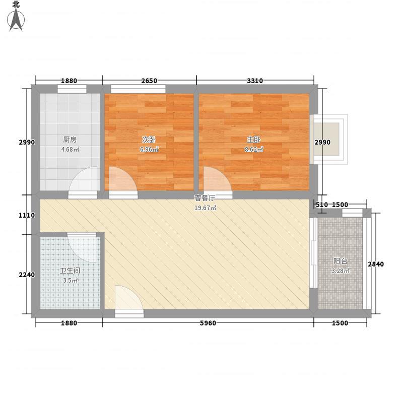 尚唐国际67.19㎡尚唐国际户型图二期9/11/12#楼D户型2室2厅1卫1厨户型2室2厅1卫1厨