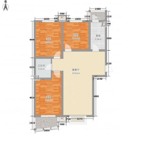 九派香邻3室1厅1卫1厨125.00㎡户型图