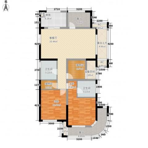 恒佳太阳城2室1厅2卫1厨126.00㎡户型图