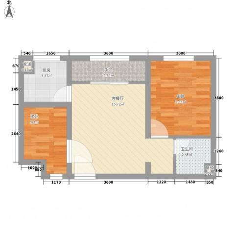 龙凤花园2室1厅1卫1厨58.00㎡户型图