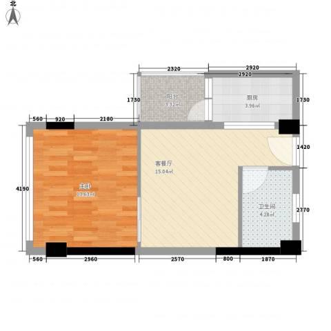 一米阳光快乐家园1室1厅1卫1厨58.00㎡户型图