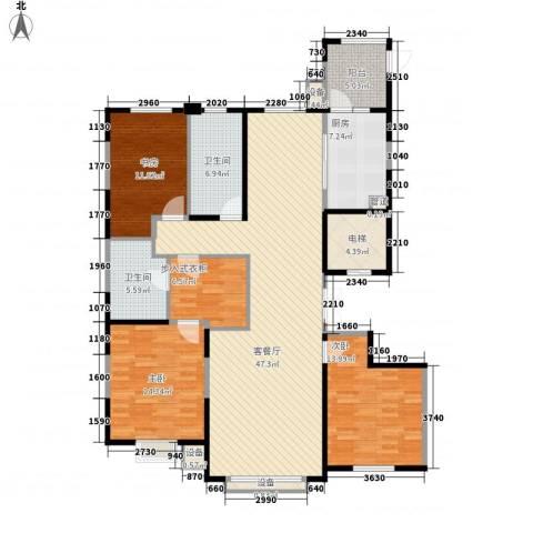 银河丽湾二期丽湾上品3室1厅2卫1厨165.00㎡户型图