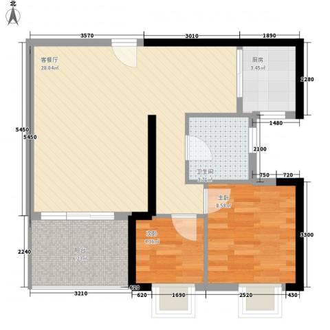 丽景花园2室1厅1卫1厨78.00㎡户型图