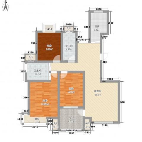 天泰茗仕豪庭3室1厅2卫1厨123.00㎡户型图