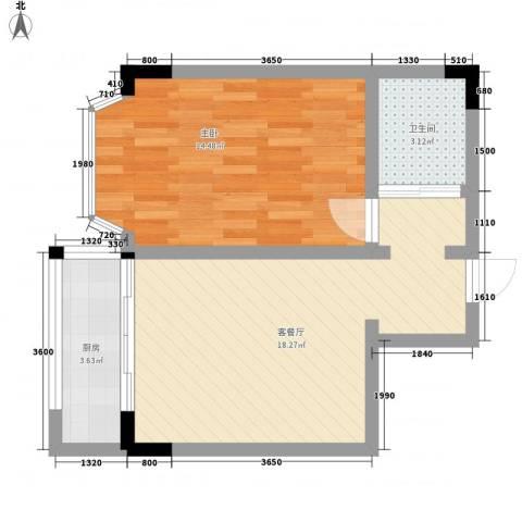 翰林文化广场1室1厅1卫1厨57.00㎡户型图