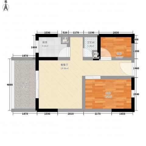 龙凤花园2室1厅1卫1厨63.00㎡户型图