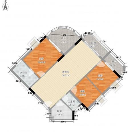 云山雅居3室1厅2卫1厨119.00㎡户型图