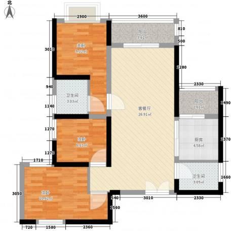 宝兴花园3室1厅2卫1厨102.00㎡户型图