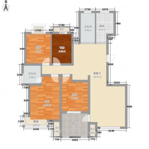 天泰茗仕豪庭4室1厅2卫1厨136.00㎡户型图