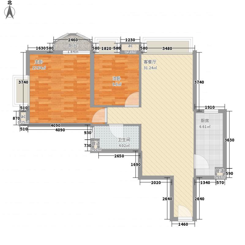 �泰大厦100.29㎡�泰大厦户型图B座9-29层1单位2室2厅1卫1厨户型2室2厅1卫1厨
