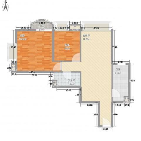 �泰大厦2室1厅1卫1厨100.00㎡户型图