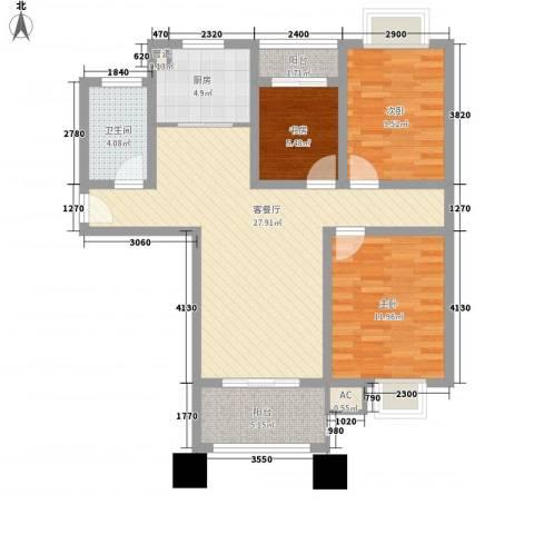 科倍尚城3室1厅1卫1厨105.00㎡户型图