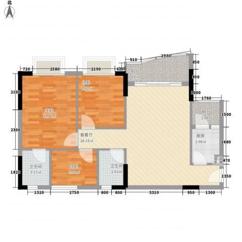 绿杨居3室1厅2卫1厨87.00㎡户型图