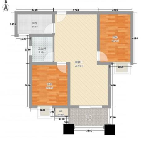 科倍尚城2室1厅1卫1厨85.00㎡户型图