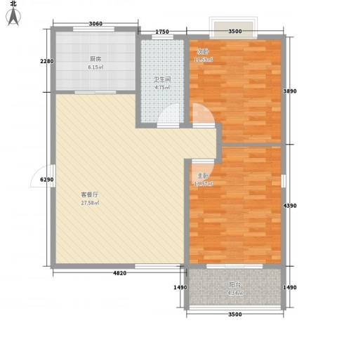 香港国际2室1厅1卫1厨95.00㎡户型图