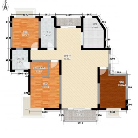 保利花园3室1厅2卫1厨141.00㎡户型图