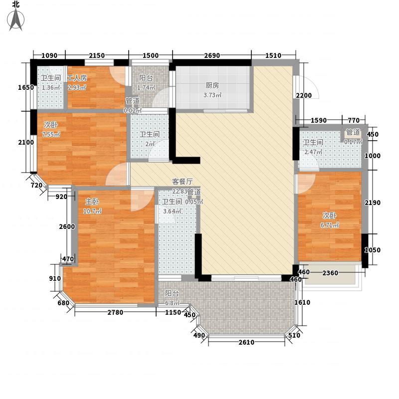 碧桂园・金海湾136.00㎡J533-H户型3室2厅4卫1厨