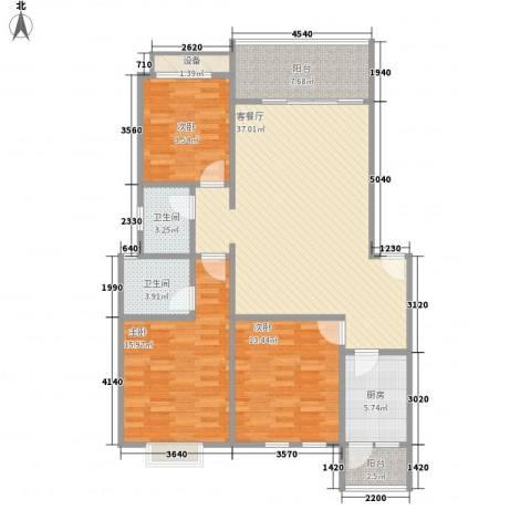 翰城国际3室1厅2卫1厨116.00㎡户型图