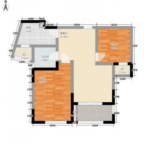 万宇御湖郡2室1厅1卫1厨92.00㎡户型图