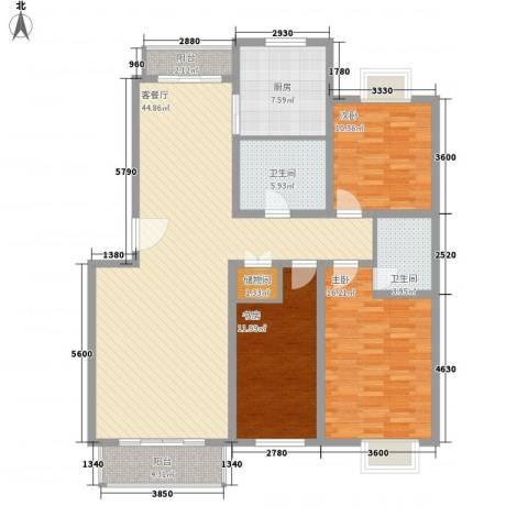 保利花园3室1厅2卫1厨145.00㎡户型图