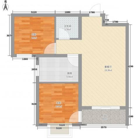 丽景名都三期2室1厅1卫1厨76.00㎡户型图