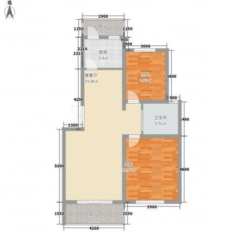 水岸林语2室1厅1卫1厨95.00㎡户型图