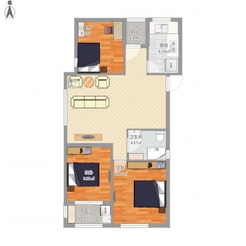 万泰时代城3室1厅1卫1厨110.00㎡户型图