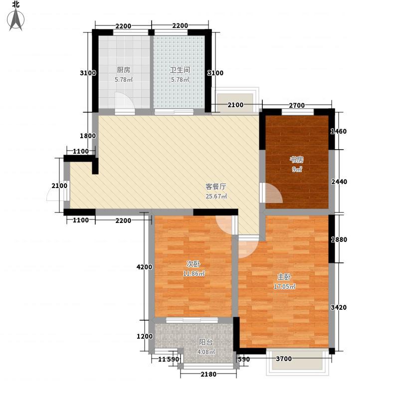金海国际花园12.10㎡68-A户型3室2厅1卫
