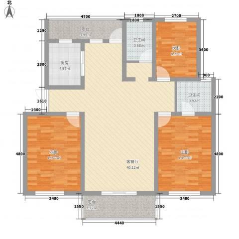 水岸林语3室1厅2卫1厨121.00㎡户型图