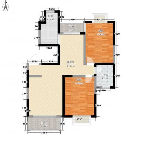 保利花园2室1厅1卫1厨80.37㎡户型图