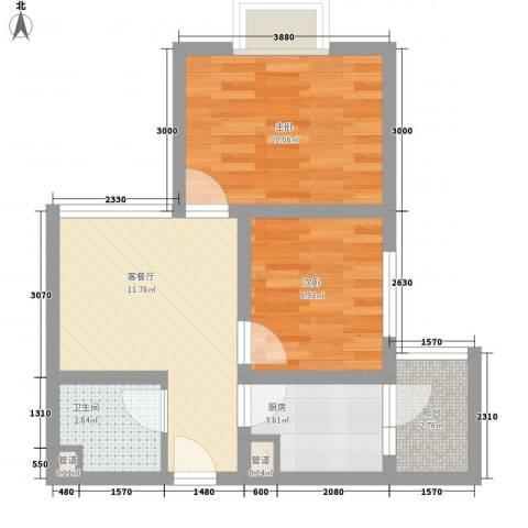 尚城国际2室1厅1卫1厨55.00㎡户型图