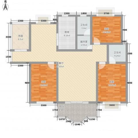 水岸林语3室1厅2卫1厨121.17㎡户型图