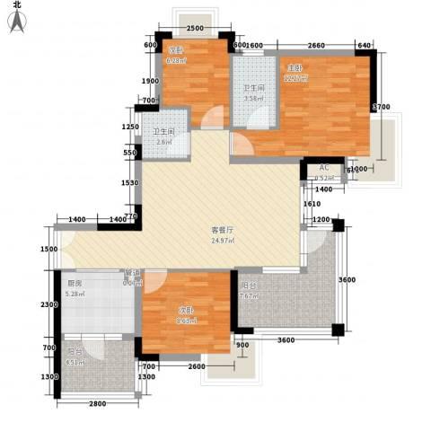 三正卧龙山3室1厅2卫1厨95.00㎡户型图