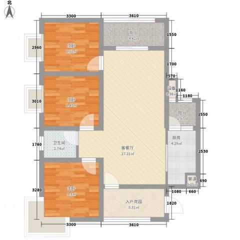 尚城国际3室1厅1卫1厨72.65㎡户型图