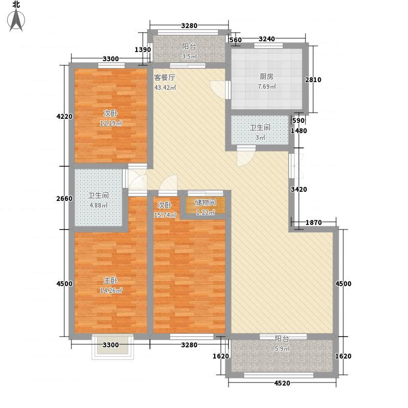 新元绿洲154.29㎡1号楼A-1-1户型3室2厅2卫1厨