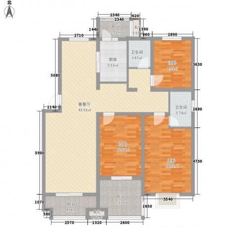 嘉禾・盛世豪庭3室1厅2卫1厨155.00㎡户型图