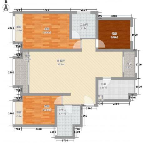 森茂华庭3室1厅2卫1厨137.00㎡户型图